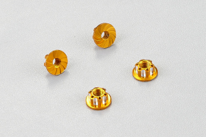 Aluminum serrated safety wheel nuts (golden) 4pcs.