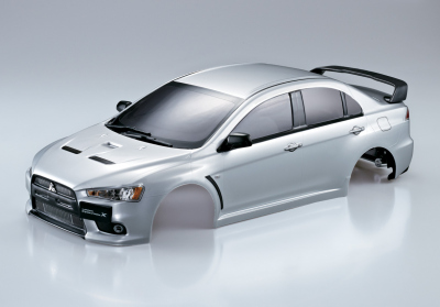 Mitsubishi Lancer Evo X (1/10), verniciata argento, RTU all-in
