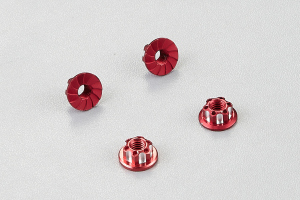 Aluminum serrated safety wheel nuts (red) 4pcs.