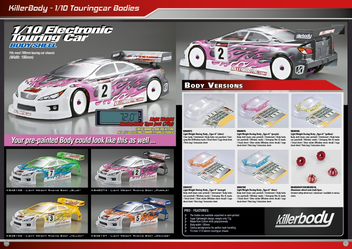 Killerbody 1 10 Touringcar Light Weight Body Rc Cars Rc Parts And