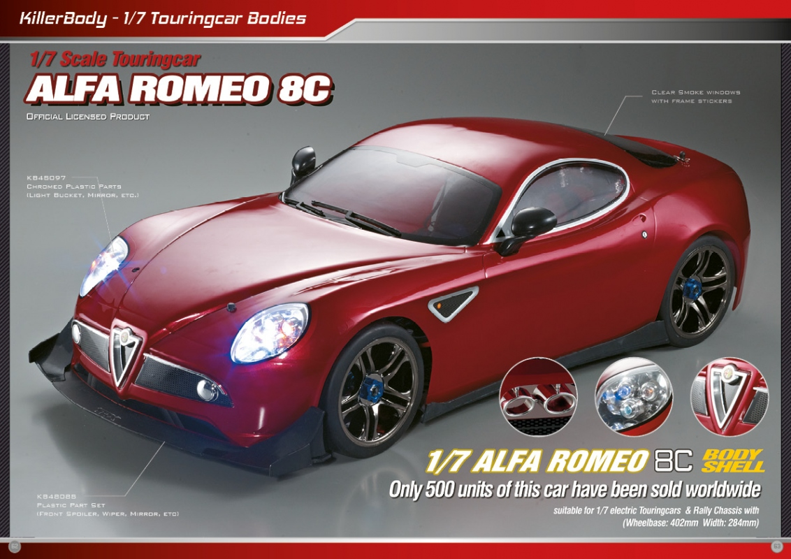 Killerbody Alfa Romeo 8c 17 RC Cars Parts And Accessories