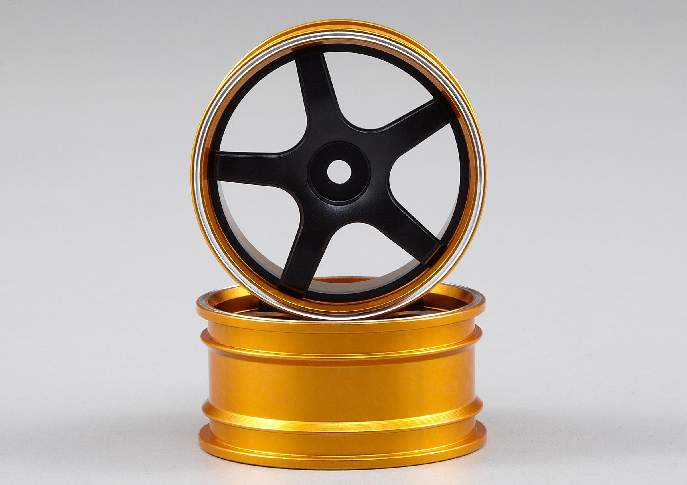 Killerbody CNC Alu-Felgen schwarz//gold für 1//10 Tourenwagen KB48075B